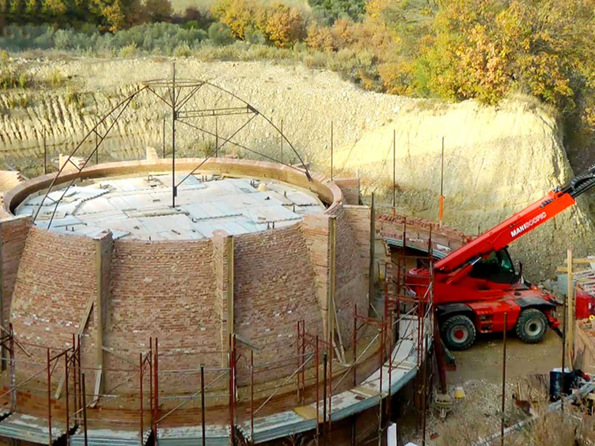 The The Golden Cellar construction in Montalcino countryside in Montalcino countryside